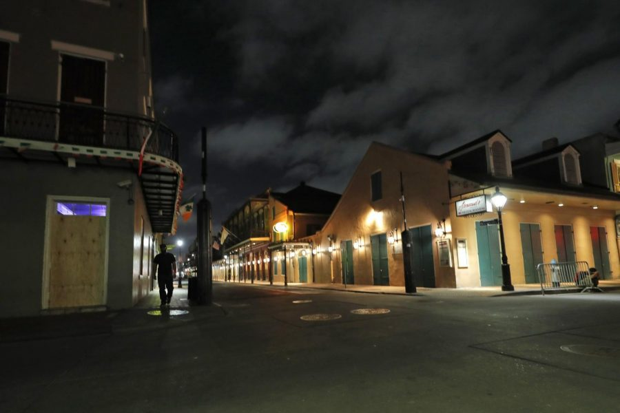A typically full Bourbon Street sits empty.