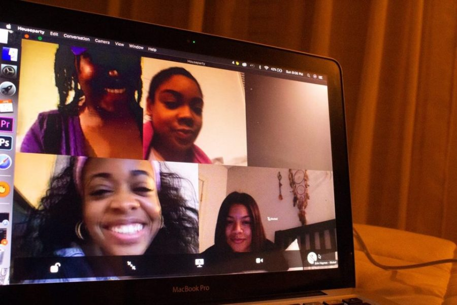 Five people using a video chatting app.