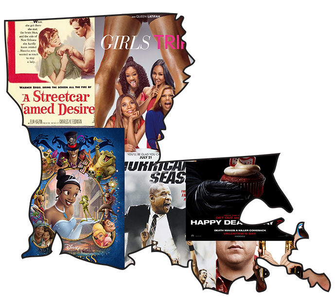 In the shape of the state of Louisiana, the posters of the films presented in the list fill up the state.