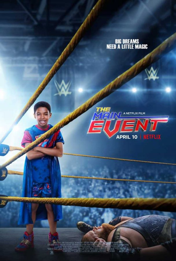 The poster features a young boy in a wrestling uniform standing in a ring. On the ground beside him lays a wrestler we are to assume he defeated.