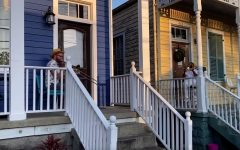 Navigation to Story: Neighbors play trombones together while social distancing