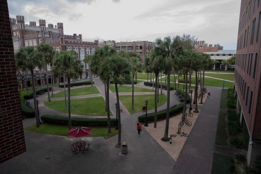 Palm+Court+stands+almost+empty+in+late+March.+For+students+who+stayed%2C+Loyola%27s+campus+has+become+their+home+away+from+home+while+social+distancing.+Photo+credit%3A+Cristian+Orellana