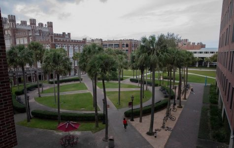 Palm Court sits outside the Music/Communications Complex below a cloudy sky in late March 2020. The School of Mass Communication and design has received criticism for hailing a diverse student body but not a diverse faculty.