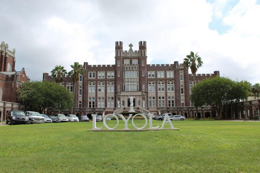 The Loyola sign sits outside Marquette Hall on May 17, 2020. President Tania Tetlow announced May 20 that the university will resume on-campus classes in August despite the COVID-19 pandemic. Photo credit: Alexandria Whitten