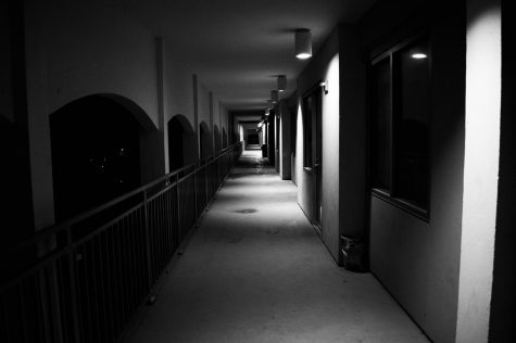 A hallway outside Cabra Hall on Loyola