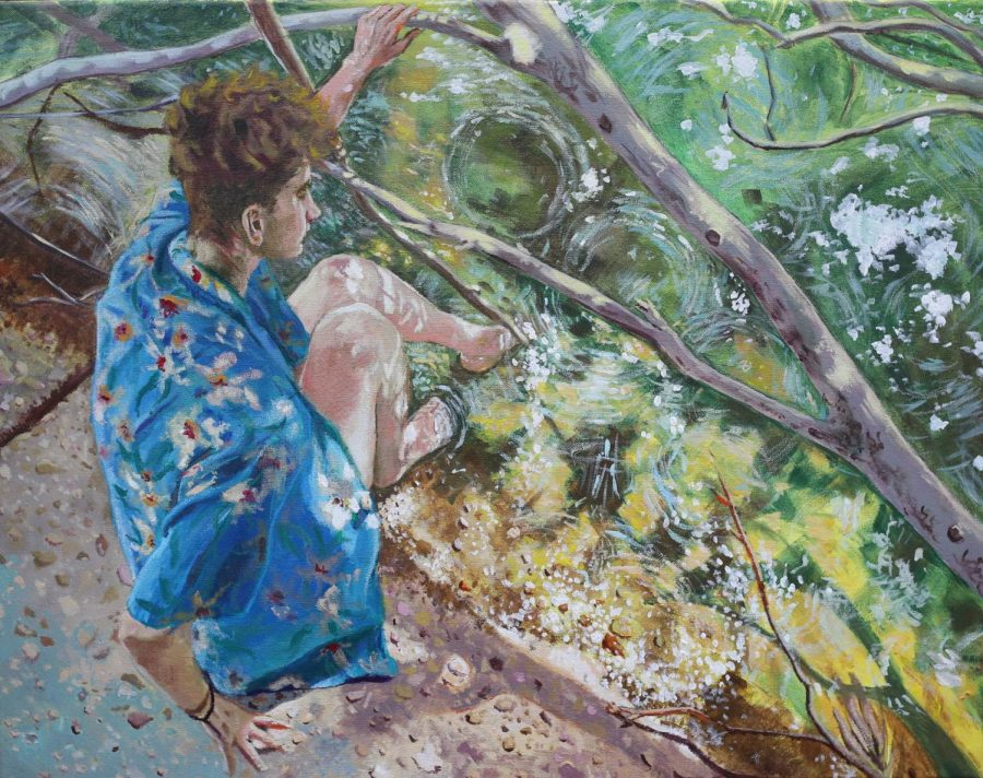 "This is ""Picnic on Bayou St. John,"" an original acrylic painting by Loyola student Michael Kennedy. Photo credit: Michael Kennedy"
