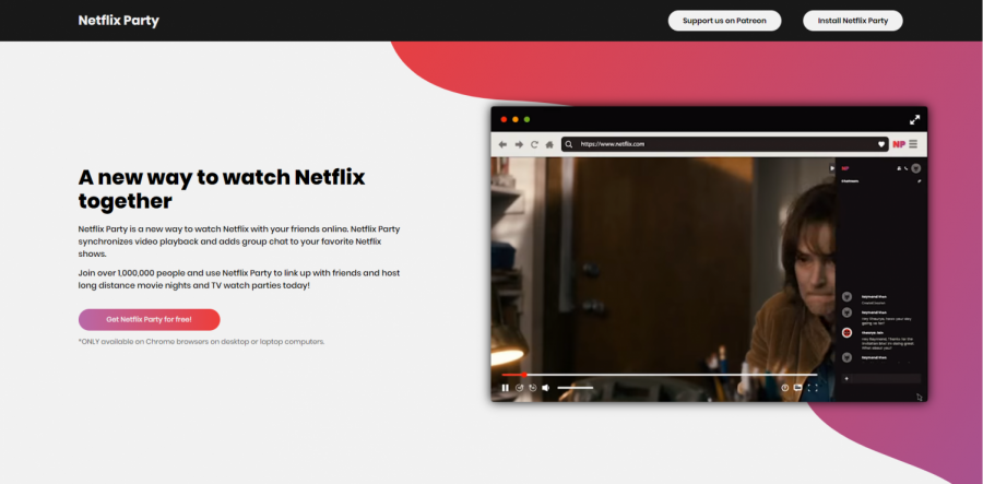 This photo is a screenshot of Netflix Party, one of the ways you can hang out with your friends virtually.
