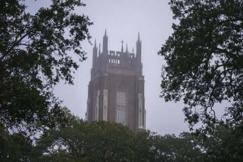 Fog sits over Holy Name of Jesus Church on Loyola