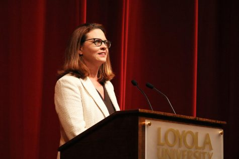 President Tania Tetlow addresses the Loyola community at the President
