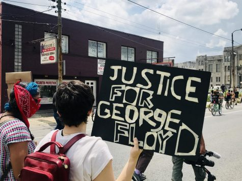 Protestors walk toward NOPD headquarters in Downtown New Orleans on Saturday, May 30 during a protest against the death of George Floyd in Minneapolis Police Custody. Photo credit: Jade Myers