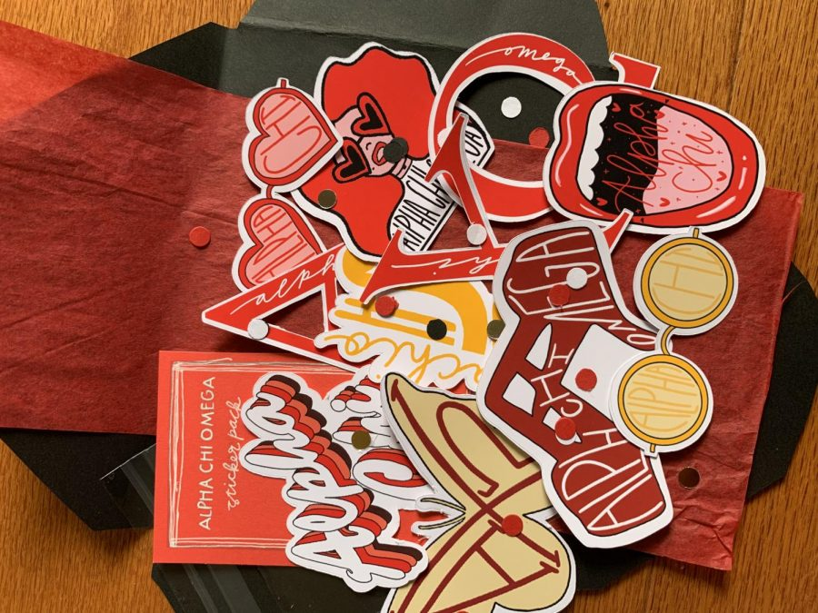 This is a sorority sticker pack that sophomore Asha Altemus sells in her shop.  Image Credit: Asha Altemus Photo credit: Asha Altemus
