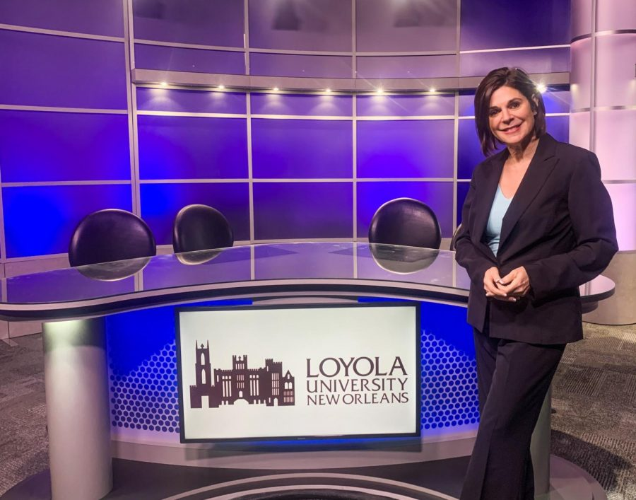 Sonya Duhé poses in front of the anchor desk in Studio A at Loyola. Duhé is suing Loyola University New Orleans, where she taught for more than a decade, claiming the school violated her contract by not welcoming her back as a member of its faculty after Arizona State University nixed her as its next journalism dean amid allegations of racism back in June.