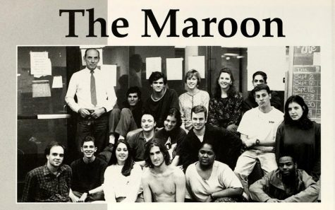 The Rev. Raymond A. Schroth, S.J., top left, poses with The Maroon staff for a yearbook photo in 1994. Schroth served as advisor for the Maroon and a journalism professor at Loyola from 1986 to 1996 (Wolf yearbook archives).