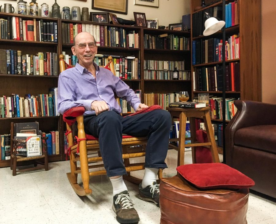 The Rev. Raymond A. Schroth, S.J. sits in his office at Fordham University in March 2017. Schroth served as advisor for The Maroon and a journalism professor at Loyola from 1986 to 1996. Schroth passed away July 1, 2020 at age 86.  (Photo Courtesy of Michael Wilson).
