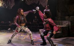 Talia Moore (right), A'20, performs a fight scene as Mercutio in Romeo & Juliet in 2019. Moore was one of several theater students of color who said they felt typecast in the department's productions, but her role as Mercutio in