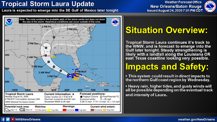 Predictions for Tropical Storm Laura from the National Weather Service estimate the storm may become a hurricane by the time it makes landfall later this week. Photo credit: National Weather Service