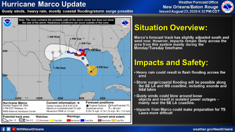 Hurricane Marco is in route to hit Southeast Louisiana Monday and Tuesday, according to the National Weather Service. Loyola will host online classes those days with a plan to reopen campus Tuesday. Photo credit: National Weather Service