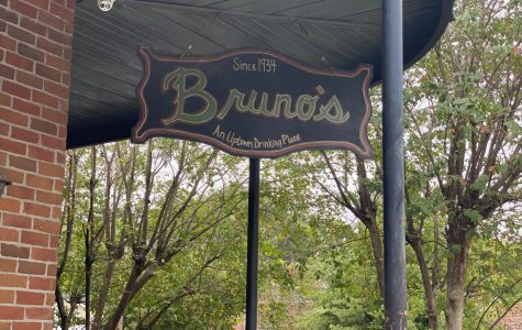 A sign hangs outside of Bruno's Tavern on Aug. 22. Bruno's is one of many bars in New Orleans that is struggling with new restrictions due to COVID-19. Photo credit: Shadera Moore