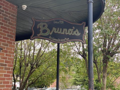 A sign hangs outside of Bruno