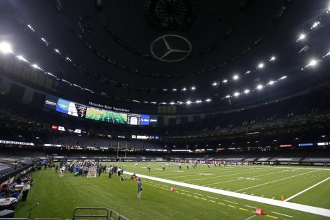 The New Orleans Saints and the Tampa Bay Buccaneers play in the Superdome without fans, due to the COVID-19 pandemic, in the first half of an NFL football game in New Orleans, Sunday, Sept. 13, 2020. (AP Photo/Butch Dill)