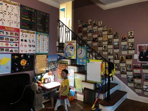 A child is surrounded by educational posters in his living room.