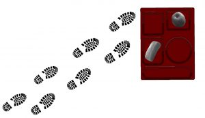 Clip art footsteps lead to a container of to-go food. Students in quarantine complained about not receiving enough food while in isolation.