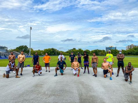Members of the New Orleans chapter of Black Men Run pose for a photo after a morning track practice Sept. 12. Black Men Run is just one runners group in New Orleans who has had to adapt to COVID-19 safety restrictions. Courtesy of Howard Jones.