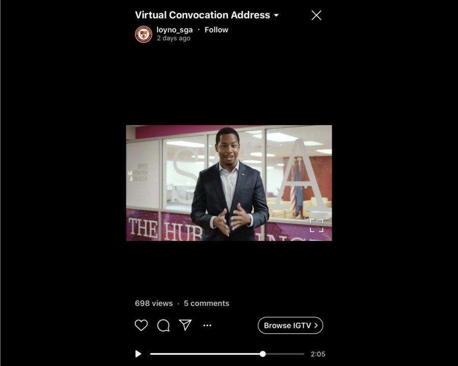SGA President Freedom Richardson speaks to students via a virtual speech. Richardson said his administration is working to create a voting seat for students on the board of trustees as well as promote equity and inclusion efforts on campus Photo credit: SGA