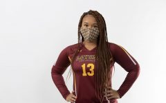 Wolf Pack volleyball player Dallis Brown poses with her mask on. Loyola's volleyball team had their season postponed to spring amid the COVID-19 pandemic. courtesy of Kyle Encar
