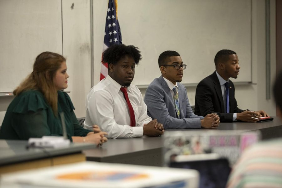 SGA Senate confirmed Tyler Sanchez (second to left) to be the administration's new Chief Justice at their Sept. 30 meeting. Here, Sanchez is pictured running in last year's presidential race. File photo.