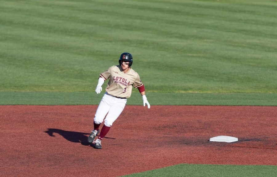 Baseball player Payton Alexander runs the bases during a game last year before the 2019-2020 baseball season was canceled amid the COVID-19 pandemic. Alexander and his teammates have set high expectations for the Wolf pack baseball team this season after finishing with a winning record for the first time since 2014. Photo courtesy of Kyle Encar