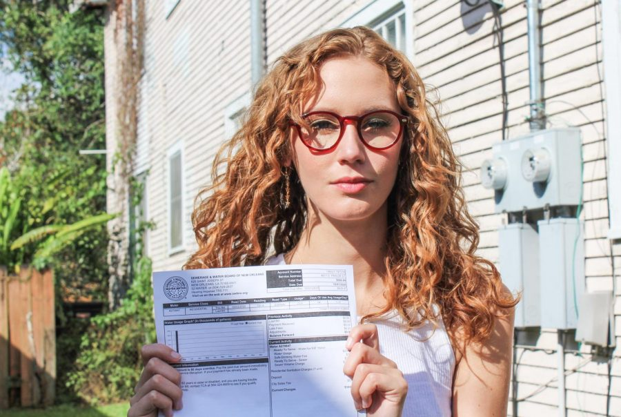 Jayme Causey, a new resident of the Broadmoor neighborhood, displays her estimated water bill from the Sewerage and Water Board Oct. 16, 2020. Photo credit: Malik Jamileh