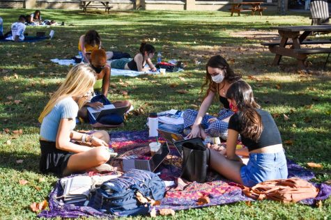 Students study in the residential quad on October 22, 2020. Safety guidelines this semester include requirements for students to wear masks in public spaces on campus. Photo credit: Maria Paula Marino