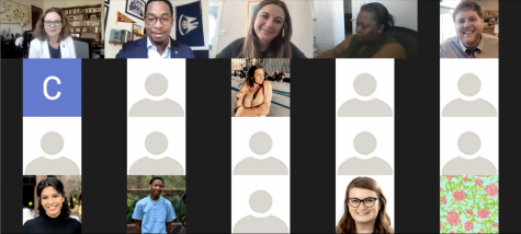 A screengrab of the virtual town hall hosted by the Student Government Association on Tuesday, Dec. 8. Students could submit questions to be answered by University President Tania Tetlow. Photo credit: Staff