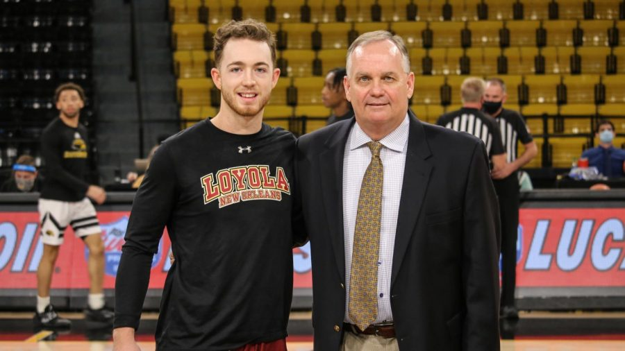 Luke (left) and Jay (right) Ladner pose before the Loyola vs Southern Miss exhibition basketball game on December 28, 2020. The game marked the first time the two Ladner's had ever competed against each other. Photo Courtesy of Southern Mississippi Athletics.