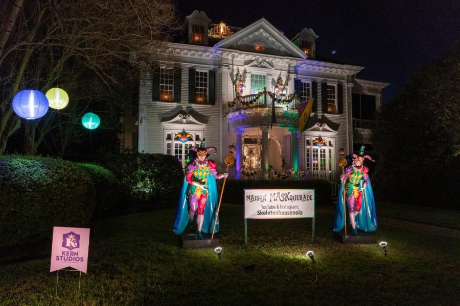 Maison MASKquerade shows off several Mardi Gras themed skeletons.