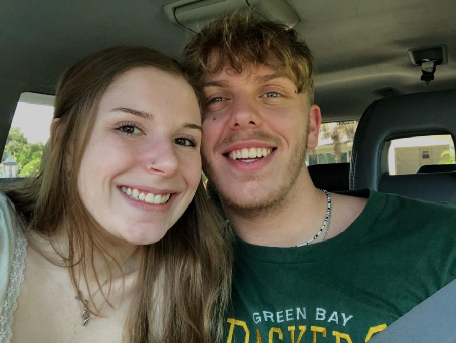 Loyola sophomore Cy Jones and her long-distance boyfriend John Lenyk take a selfie during their time together. Jones has used University Programming Board events such as Stuff a Wolf and Bears 4 Bae to make presents for her boyfriend who she hasn't seen in five months due to the COVID-19 pandemic.