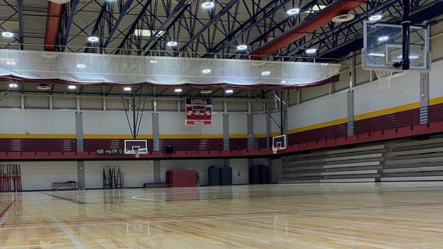 An empty court at the Loyola Sports Complex.