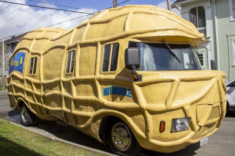The Planters NUTmobile sits at the corner of Broadway and Panola Streets, Friday, Feb. 26. The NUTmobile made appearances in neighborhoods and at local events, nursing homes, Sazerac House and the Second Harvest Food Bank.