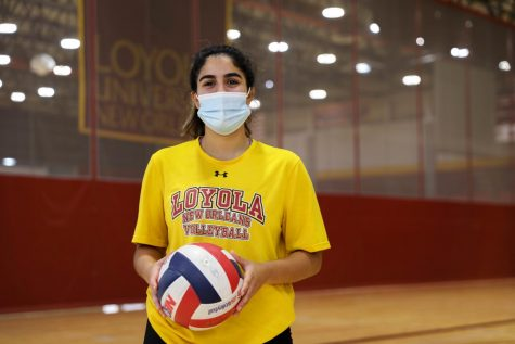 Helene Masone, Loyola volleyball senior, poses in The Den.