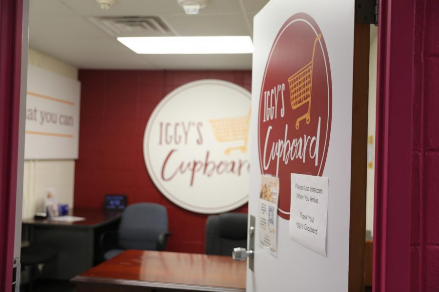 The entrance to Iggy's Cupboard, an on-campus food pantry for students, welcomes students in. Students on Loyola's campus have experienced food insecurity and relied on the pantry for support. Photo credit: Hannah Renton