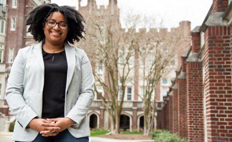 Homecoming 2021 chair Michaela Jones stands on Loyola