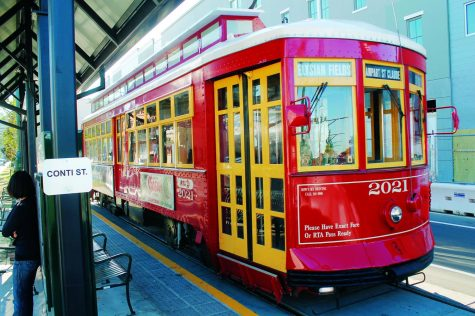 A streetcar travels in downtown New Orleans. Loyola and Tulane have collaborated to organize a city- wide scavenger hunt called Streetcar Seek-N-Find on April 24. Photo credit: File photo