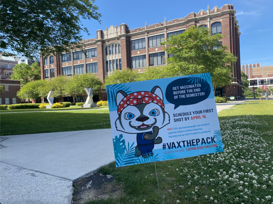 Sign in front of Bobet Hall encouraging student vaccinations on April 12. Students have until April 16 to get vaccinated on campus.