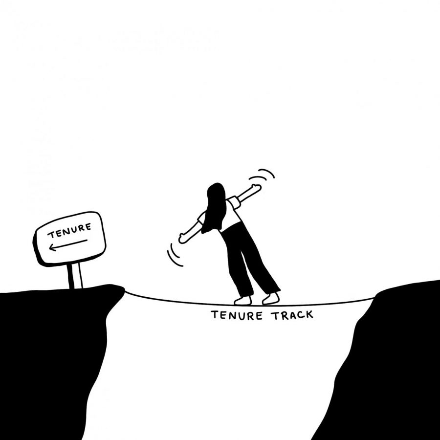 A drawing featuring a figure wobbling on a bridge labeled tenure track