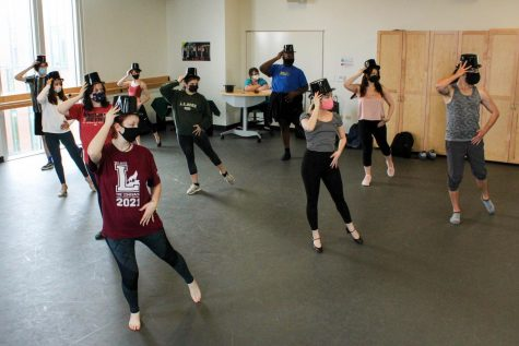 "Hardy Weaver leads musical theatre students in a ""Chorus Line"" dance routine during Musical Theatre Masterclass, Tuesday, March 30. With Loyola"