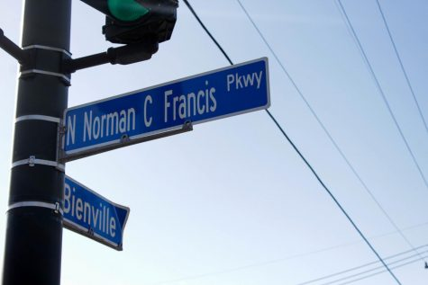 A street sign reads Norman C. Francis Parkway. The street name was changed from Jefferson Davis Parkway on January 1, 2021. Shadera Moore/The Maroon. Photo credit: Shadera Moore