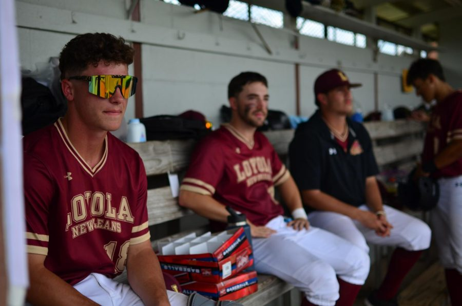 Loyola+baseball+players+watch+their+teammates+from+the+dugout+during+a+5-2+win+against+Brewton-Parker+on+April+9.+Wolf+Pack+baseball+made+the+NAIA+top+25+poll+for+the+first+time+since+the+program+was+reinstated+in+1991.+Photo+credit%3A+Gabrielle+Korein