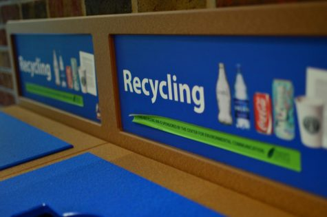 Recycling bins sit outside the Danna Center on Loyola