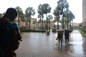 Loyola students try to avoid a sudden rain shower on Aug. 30, 2018. Tropical Storm Ida is the first storm to impact Loyola's schedule this year. File Photo.